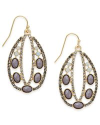 INC International Concepts - Metallic Gold-tone Jet Stone And Pavé Decorative Drop Earrings - Lyst