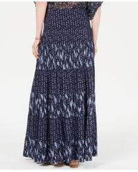 Style & Co. Blue Mixed-print Tiered Maxi Skirt, Created For Macy's