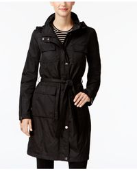 T Tahari - Black Four-pocket Belted Hooded Raincoat - Lyst