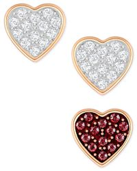 Swarovski - Metallic Rose Gold-tone 3-pc. Set Single Crystal Heart Stud Earrings - Lyst