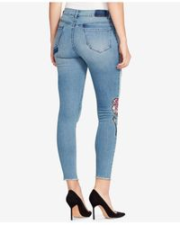 William Rast - Blue Contrast-wash Embroidered Skinny Jeans - Lyst