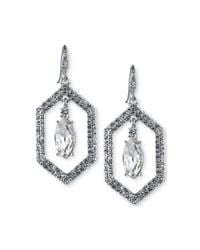 Carolee - White Silver-tone Crystal Openwork Drop Earrings - Lyst