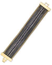 INC International Concepts - Metallic Gold-tone Beaded Faux-leather Bracelet - Lyst