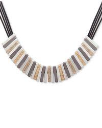 Nine West - Multicolor Tri-tone Leather Statement Necklace - Lyst