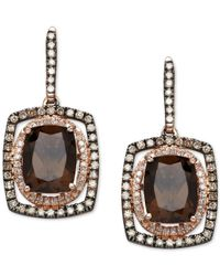 Macy's | Metallic Smoky Quartz (3-3/4 Ct. T.w.) And Diamond (1/2 Ct. T.w.) Drop Earrings In 14k Rose Gold And Black Rhodium-plate | Lyst