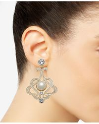 Nina - Metallic Imitation Pearl And Swarovski Crystal Drop Earrings - Lyst
