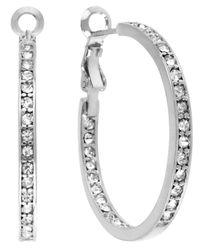 Touch Of Silver - Metallic Crystal Hoop Earrings - Lyst