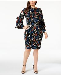 34136459e17 Lyst - Calvin Klein Plus Size Floral Printed Bell-sleeve Dress in Black