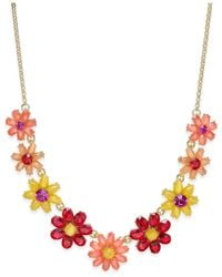 Kate Spade - Metallic Gold-tone Crystal Floral Collar Necklace - Lyst
