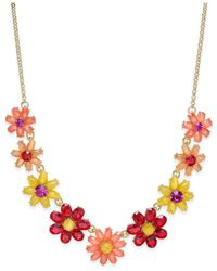 Kate Spade | Metallic Gold-tone Crystal Floral Collar Necklace | Lyst