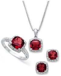 Macy's - Multicolor Sterling Silver Jewelry Set, Garnet (4-3/4 Ct. T.w.) And Diamond Accent Necklace, Earrings And Ring Set - Lyst