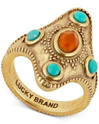 Lucky Brand - Metallic Gold-tone Beaded Statement Ring - Lyst