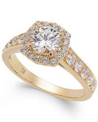 Macy's - Metallic Diamond Halo Ring In 14k White Gold (1-1/2 Ct. T.w.) - Lyst