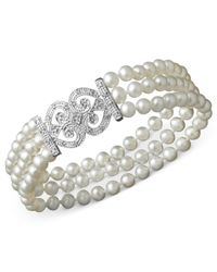 Macy's | Metallic Sterling Silver Bracelet, Cultured Freshwater Pearl And Diamond (1/6 Ct. T.w.) Bracelet | Lyst