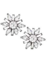 Carolee - Metallic Earrings, Silver-tone Small Button Snowflake Earrings - Lyst
