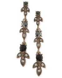 Marchesa - Metallic Gold-tone Clear & Jet Crystal Linear Drop Earrings - Lyst