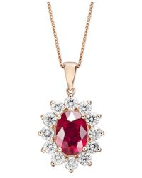 Effy Collection - Metallic Ruby (3-3/4 Ct. T.w.) And Diamond (1-3/4 Ct. T.w.) Oval Pendant In 14k Rose Gold - Lyst