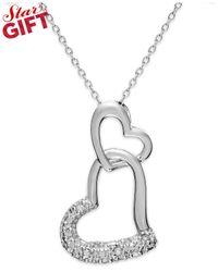 Macy's - Metallic Sterling Silver Diamond Double Heart Pendant Necklace (1/10 Ct. T.w.) - Lyst