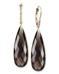 Macy's | Black 14k Gold Earrings, Smokey Topaz (24 Ct. T.w.) And Diamond Accent Long Drop Earrings | Lyst
