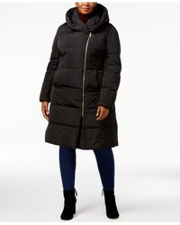 Cole Haan - Black Signature Plus Size Pillow-collar Heavyweight Puffer Coat - Lyst