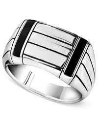 Macy's | Metallic Men's Sterling Silver Ring, Onyx Accent Ring for Men | Lyst