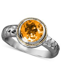 Effy Collection - Metallic Balissima By Effy Citrine Round Ring (1-5/8 Ct. T.w) In Sterling Silver And 18k Gold - Lyst