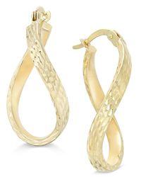 Macy's | Metallic Patterned Twisted Hoop Earrings In 10k Gold | Lyst