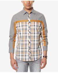 Sean John - Gray Men's Melange Colorblocked Shirt for Men - Lyst