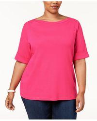 Karen Scott Multicolor Plus Size Cotton Cuffed-sleeve Top, Created For Macy's