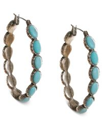Lucky Brand | Blue Earrings, Reconstituted Turquoise Hoop Earrings | Lyst