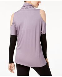 DKNY - Purple Colorblocked Cold-shoulder Top - Lyst