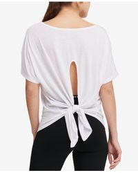 DKNY - White Sport Icy Wash Tie-back T-shirt - Lyst