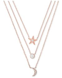 Michael Kors - Metallic Rose Gold-tone Stainless Steel Pavé Triple-row Celestial Pendant Necklace - Lyst