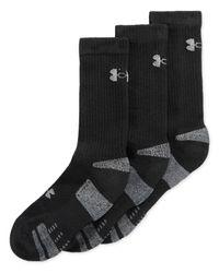 Under Armour - Black Heatgear Crew Socks 3-pack for Men - Lyst