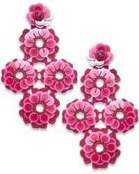 Kate Spade - Pink Colored Stone, Sequin, Bead & Fabric Flower Drop Earrings - Lyst