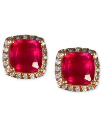 Effy Collection | Gray Ruby (2-7/8 Ct. T.w.) And Diamond (1/6 Ct. T.w.) Square Stud Earrings In 14k Rose Gold | Lyst