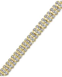 Macy's - Metallic Diamond Accent Two-tone Circle Link Bracelet In 18k Gold-plate And Rhodium-plate - Lyst