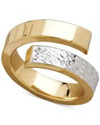 Macy's - Metallic Two-tone Bypass Ring In 14k Gold & Rhodium-plate - Lyst