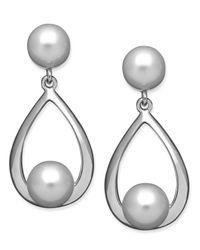 Macy's   Metallic Sterling Silver Earrings, Cultured Freshwater Pearl Teardrop Earrings   Lyst