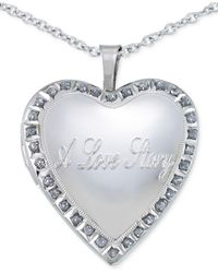 Macy's - Metallic Diamond Accent Love Story Heart Pendant Necklace In Sterling Silver - Lyst