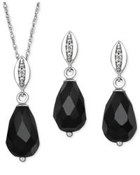 Macy's - Black Sterling Silver Jewelry Set, Onyx (8-12mm) And Diamond Accent Pendant And Earrings Set - Lyst