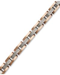 Macy's | Metallic Men's Diamond Bracelet In Stainless Steel And Rose Ion-plated Sterling Silver (1/2 Ct. T.w.) for Men | Lyst