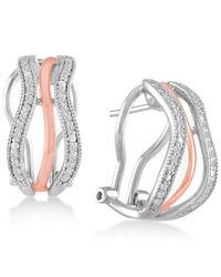 Macy's - Metallic Diamond Two-tone Hoop Earrings (1/4 Ct. T.w.) In Sterling Silver And 18k Rose Gold-plate - Lyst