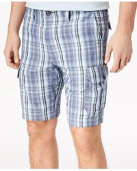 "Tommy Bahama Blue Marina Bay Plaid 10"" Cargo Shorts for men"
