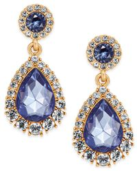 Charter Club - Metallic Gold-tone Crystal & Blue Stone Drop Earrings - Lyst