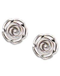 Macy's | Metallic Sterling Silver Earrings, Cultured Tahitian Mother Of Pearl Flower Stud Earrings (18mm) | Lyst