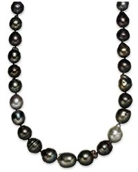 Macy's | Metallic Pearl Necklace, Sterling Silver Multicolor Cultured Tahitian Pearl Baroque Strand Necklace (9-11mm) | Lyst