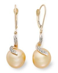Macy's | Metallic 14k Gold Earrings, Cultured Golden South Sea Pearl (11mm) And Diamond (1/8 Ct. T.w.) Earrings | Lyst