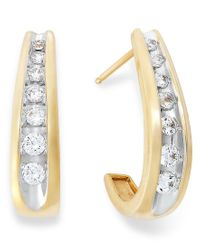 Macy's | Metallic Channel-set Diamond J Hoop Earrings In 14k Gold (1/2 Ct. T.w.) | Lyst
