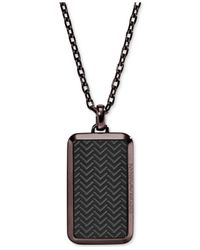Emporio Armani - Brown Men's Two-tone Textured Dog Tag Pendant Necklace Egs2251 for Men - Lyst